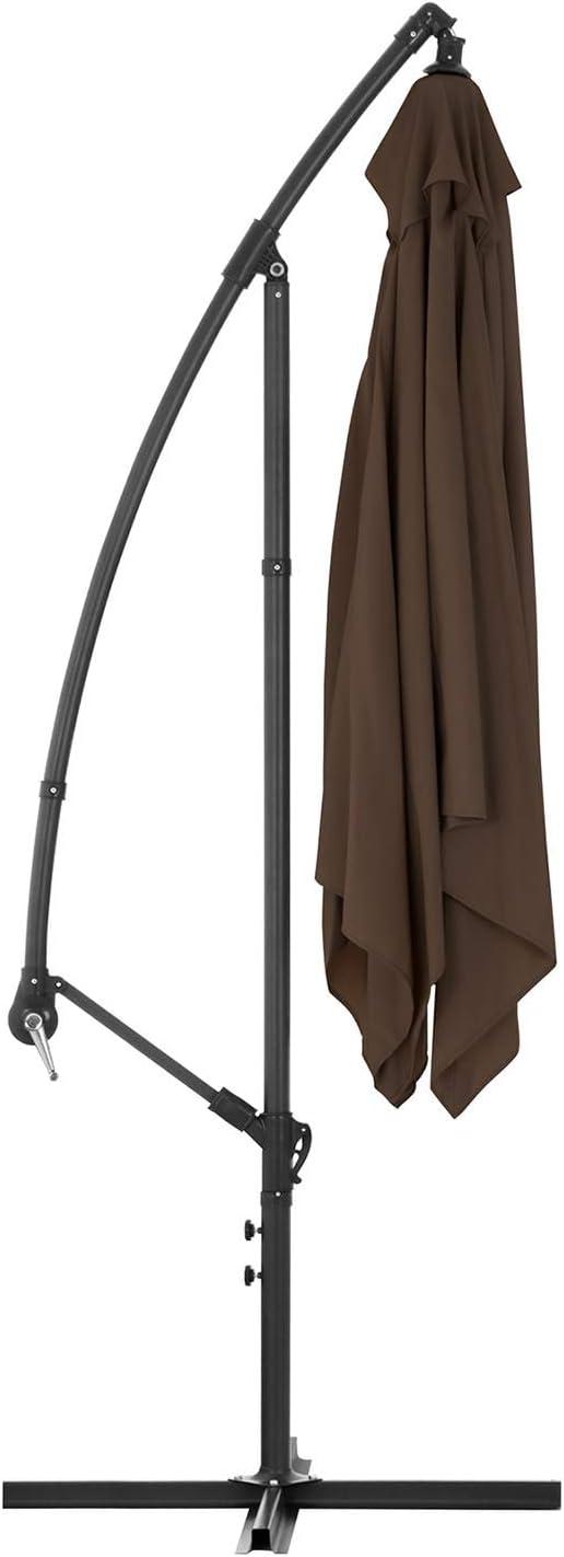 Uniprodo Ombrellone da Esterno Ombrello da Giardino Uni/_Umbrella/_SQ250BR Marrone, Quadrato, 250 x 250 cm, 180 g//m2, Inclinabile
