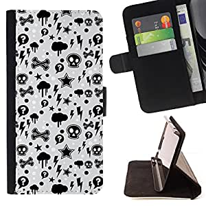 DEVIL CASE - FOR HTC One M8 - Wallpaper Thunder Lightning Skulls Star - Style PU Leather Case Wallet Flip Stand Flap Closure Cover