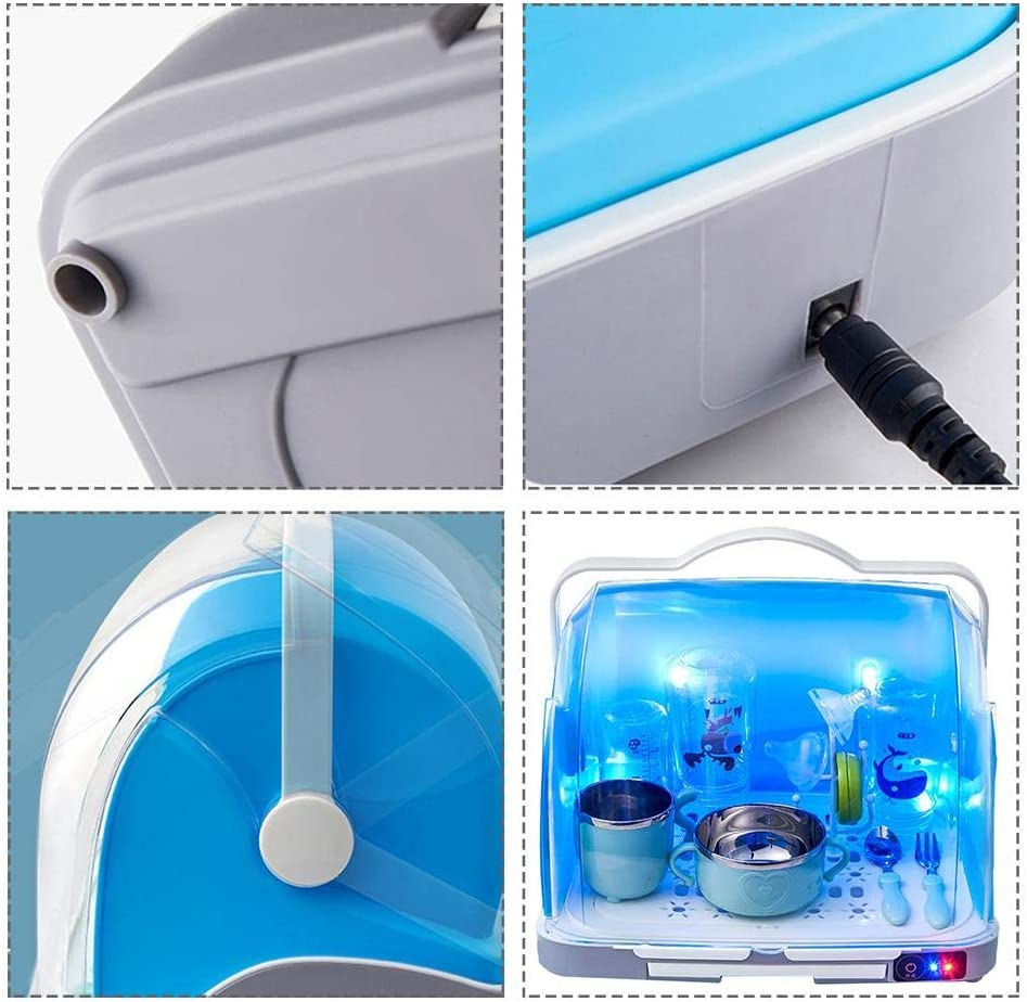 Baby Bottle Sanitizer USB UV Baby Milk Bottle Disinfection Box Steam Sterilizer Baby Bottle Drying Rack Storage for Bottle Cleaning,Pink//Blue