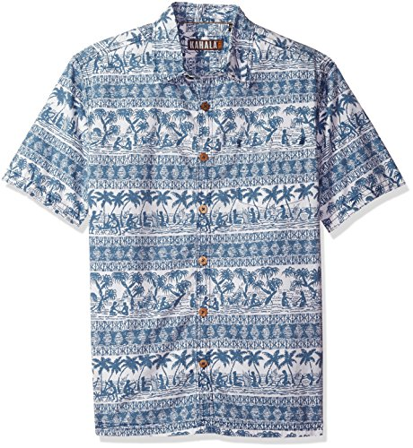 Border Hawaiian Aloha Shirts (Kahala Men's Border Patrol Relaxed Fit Hawaiian Shirt, Blue, XLG)