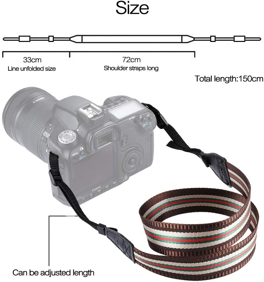Color : Rose Red CAOMING Stripe Style Series Shoulder Neck Strap Camera Strap for SLR//DSLR Cameras Durable
