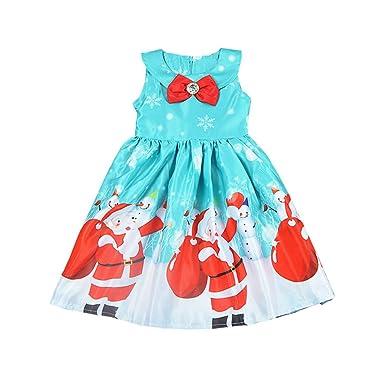 Vestido de Navidad para niñas y bebés, con Lazo sin Mangas ...