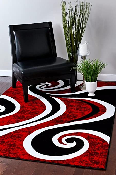 Amazoncom 0327 Red Black Swirl White Area Rug Carpet 5x7 Modern