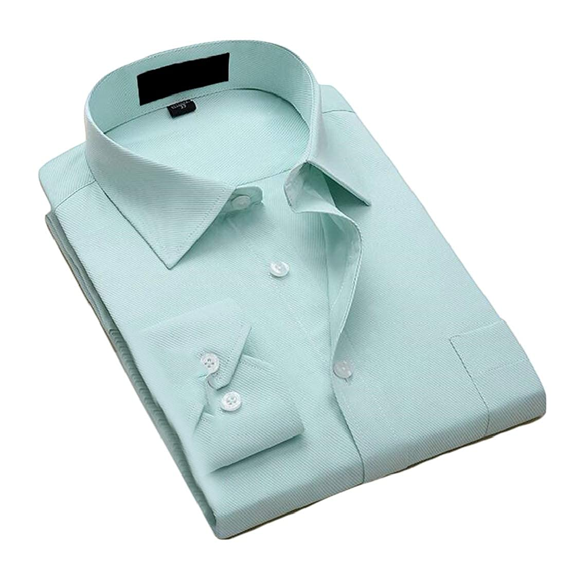 Joe Wenko Mens Solid Button Up Long Sleeve Point Collar Business Shirts