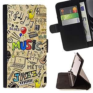 Momo Phone Case / Flip Funda de Cuero Case Cover - PATRÓN DE JAZZ MÚSICA - Huawei Ascend P8 (Not for P8 Lite)