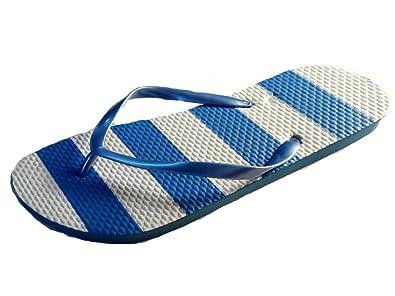 Kids Sand Rocks Butterfly Print Summer Flip Flops Navy or White Girls