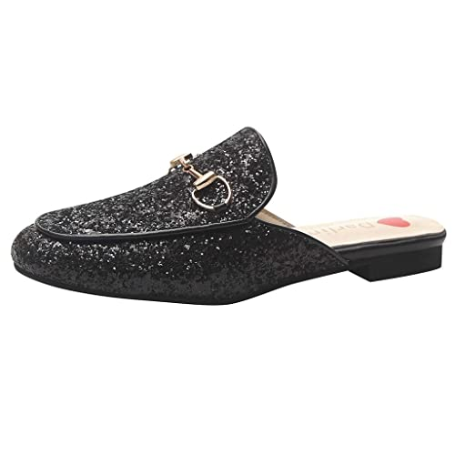 Sandalias,Internet_Zapatillas Plano Bordados Horsebit Zapatos Perezosos,Lentejuelas Sandalias Salvajes,Suave Cuero Ocio Color sólido Mocasines ...