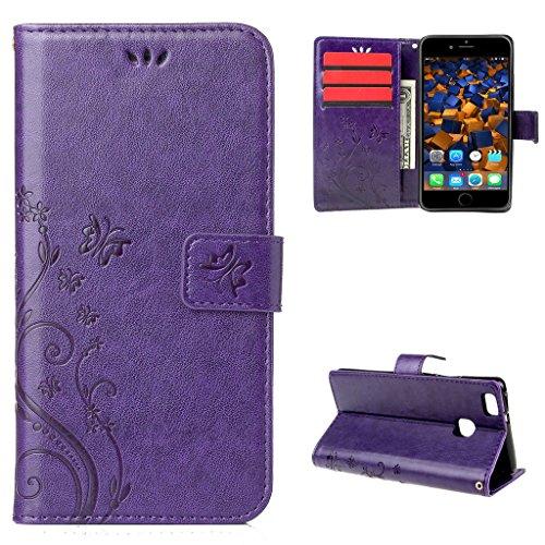 """iPhone 7 Hülle Lila , Leathlux Vintage Blume Muster Premium PU Leder Schutzhülle Bookstyle Tasche Schale TPU Case mit Trageschlaufe Standfunktion für iPhone 7 4.7"""""""