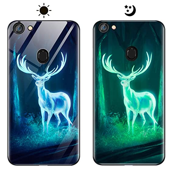 low priced 555be ea7ae Amazon.com: OneBelief Oppo F5 Youth Case, Luminous Tempered Glass ...