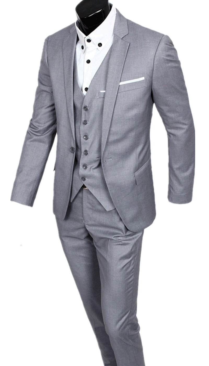 LANBAOSI Men's 1 Button Wedding Suits Pant Jacket Ticket Pocket sj085
