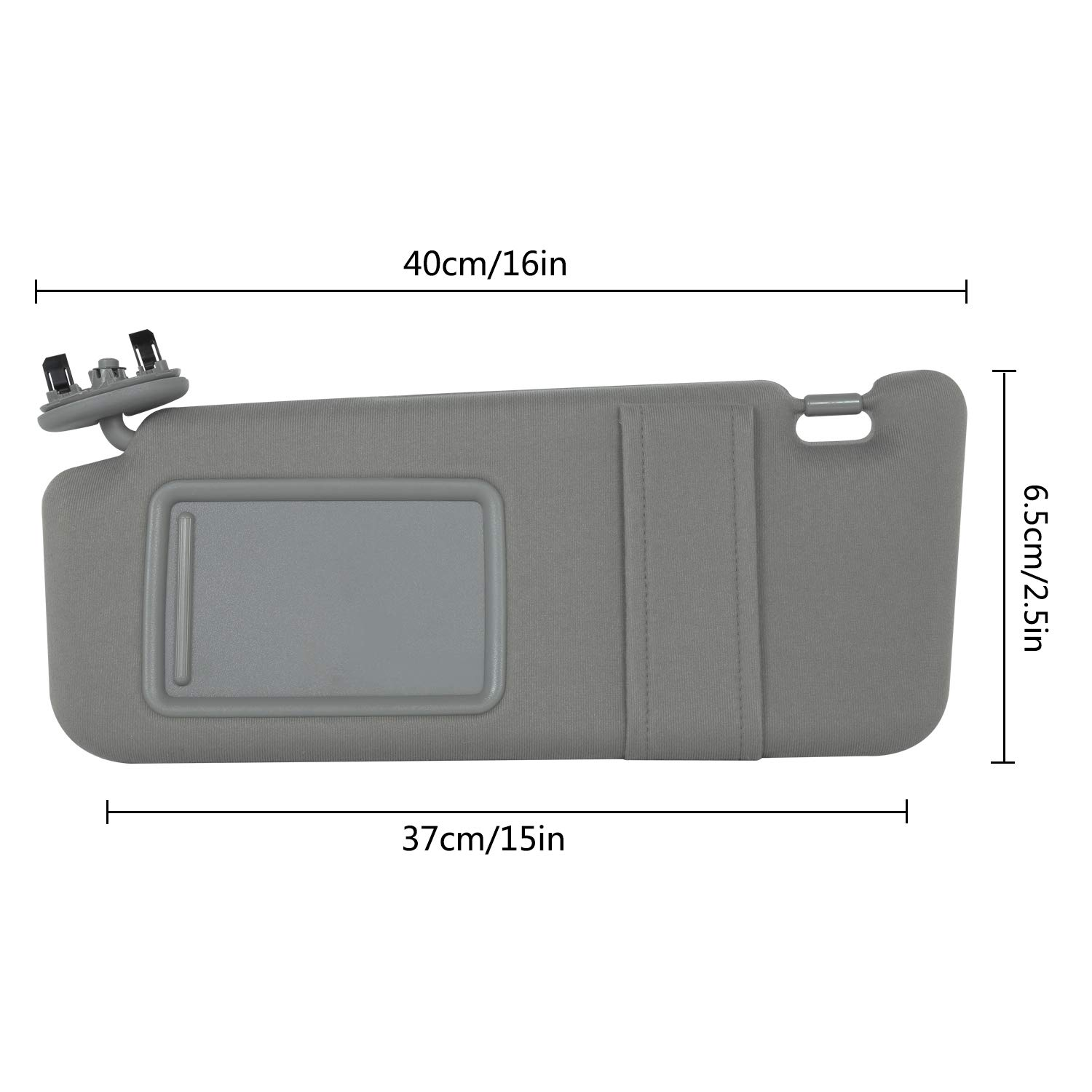 Gray 1 Pack HANGHANG Camry Sun Protection Visor Left Driver Side Fits for 2007 2008 2009 2010 2011 Toyota Camry and Camry HV Without Sunroof and Light 74320-06780-B0
