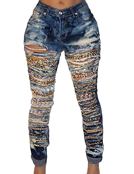 Gladiolus Mujer Ocio Jeans Denim Slim Fit Skinny Elásticos Rotos Agujero  Cadena Vaqueros  Amazon.es  Ropa y accesorios d093d233a02d