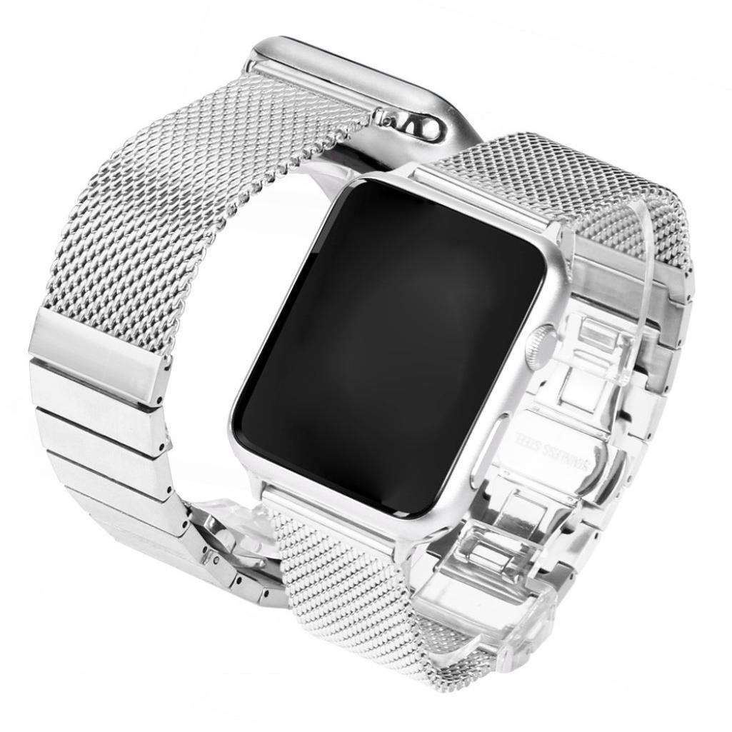 TranserメッシュMilaneseステンレススチール時計バンドストラップfor Apple Watchシリーズ1 / 2 42 mm  シルバー B073P5YNQ2