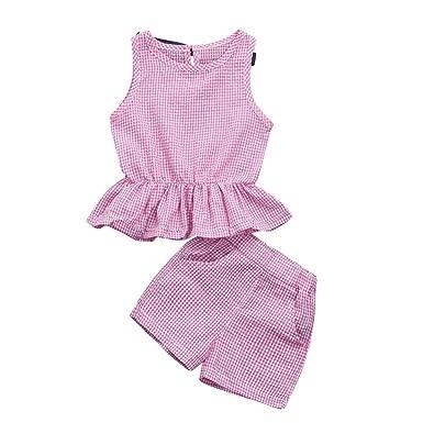 1db3653190430 花千束 2点セット 子供服 女の子 夏服 ショット丈パンツ ノースリーブ トップス セットアップ ベビー服