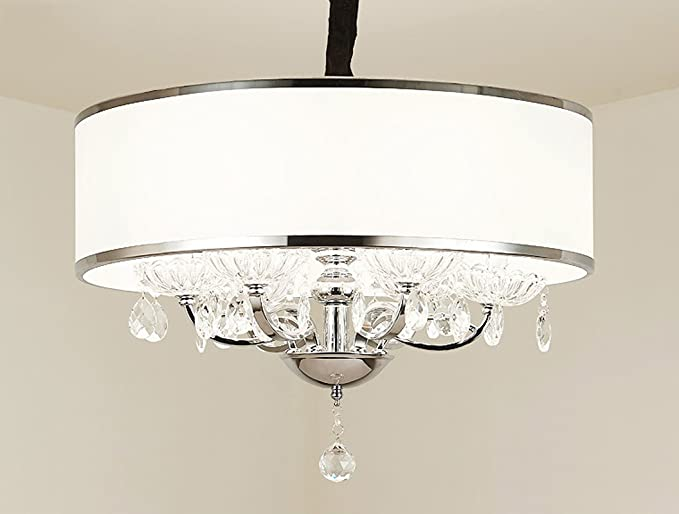 Modern Crystal Pendant Light in Cylinder Shade, Drum Style Home 4 ...
