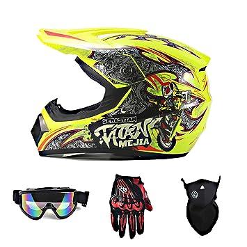 c667eade84 TLPSB YXNB - Amarillo - Casco Motocross, Casco de Cross con Gafas, Máscara,