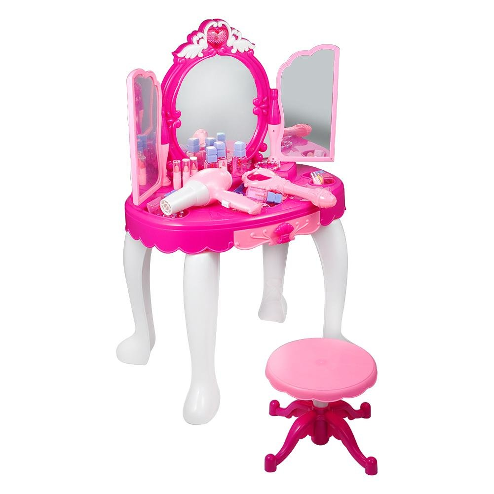 lyrlody Makeup Table Toy Girls Pretend Play Table Glamorous Pink Princess Vanity Table Set with Plastics Dressing Desk Toy with Makeup Accessories