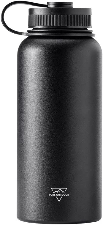 Monoprice Vacuum Sealed Wide Mouth Water Bottle - Black - 32oz. | BPA Free, Insulated, SweatProof, Hot and Cold - Pure Outdoor Collection
