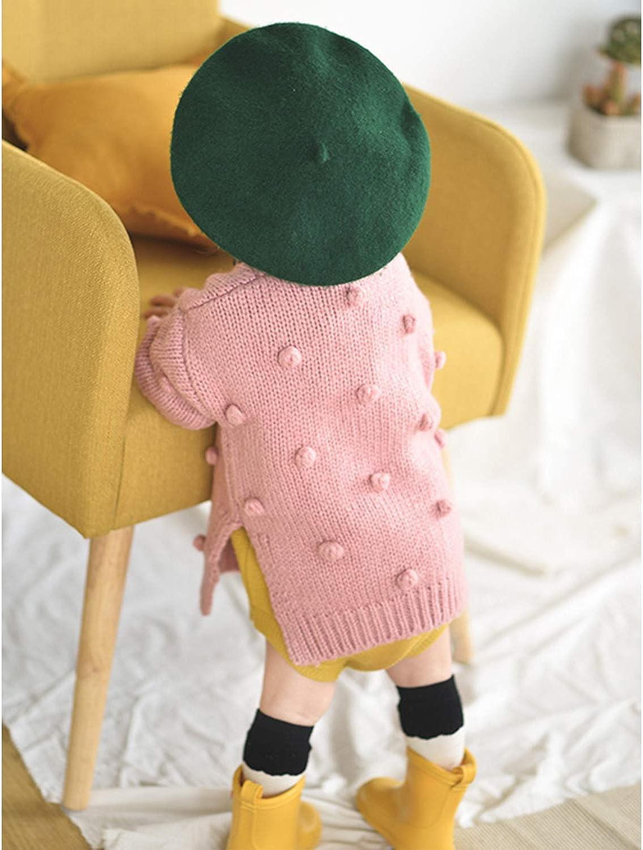 De feuilles Baby Strickjacke M/ädchen Kurz V-Ausschnitt Langarm Cardigan mit Pompon S/ü/ß Kinderjacke