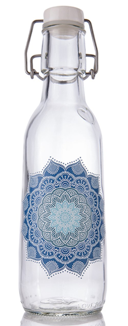 Love Bottle Designer Glass Water Bottle, Made in USA, Reusable, Swing Lid, Non Toxic, BPA-free, Non Plastic, 500 Milliliter, 16.9 Ounce, Leak Proof, Fits Most Cup Holders, Dishwasher Safe