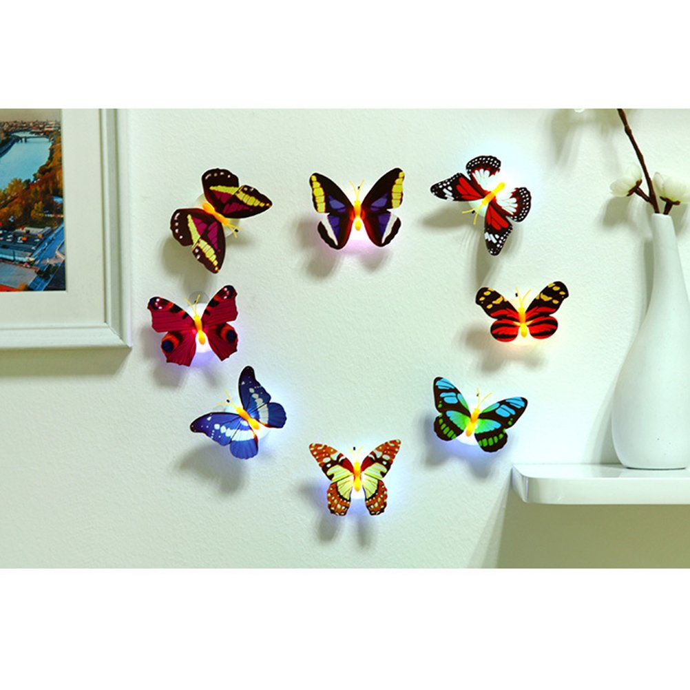 Ledmomo 3d Led Elegant Butterfly Decorative Light Stick On Wall Night Light For Garden Home Party Night Lights