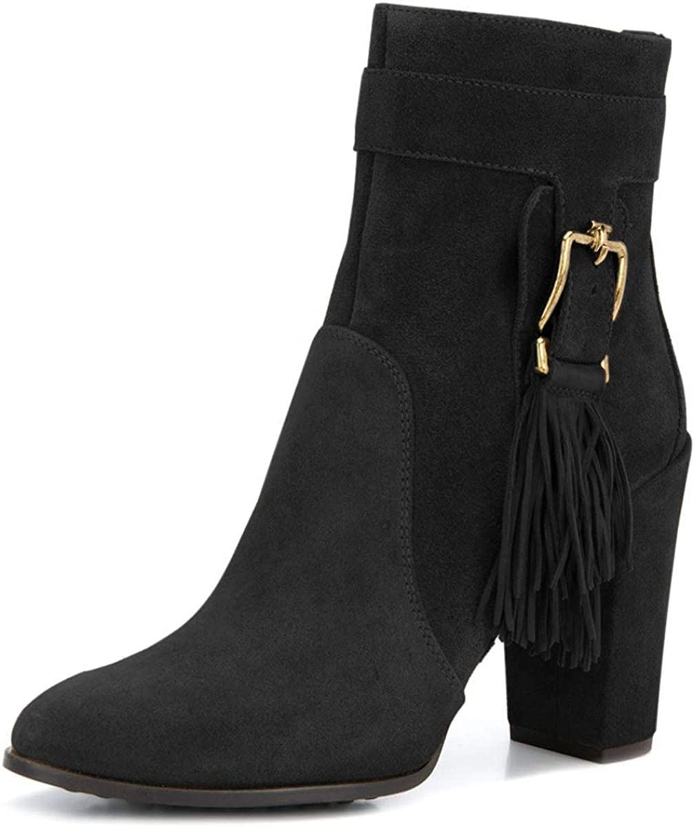 YDN Women Closed Toe Tassel Ankle Boots High Chunky Heel Zip Up Casual Walking Short Booties