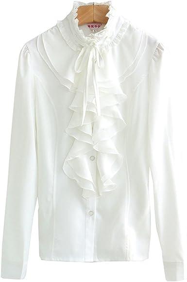 COCO clothing Camisa Mujer Manga Larga Blanco Camisas Talla Grande Cuello Mao Color Puro Volantes Blusas Primavera Verano (Blanco, S): Amazon.es: Ropa y accesorios