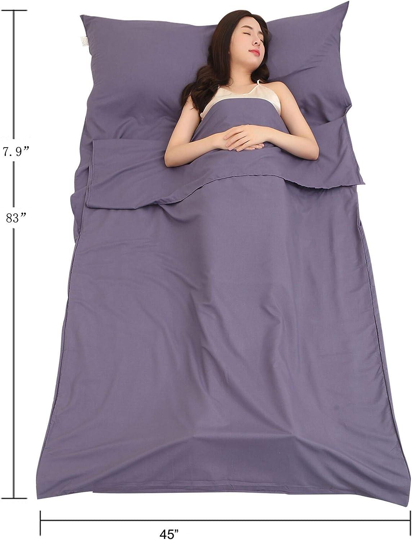 Traveling Uotyle Sleeping Bag Liner Camping Sleeping Sheet Lightweight for Hostels Backpacking /& Hiking