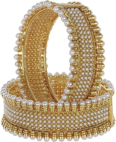 YouBella Ethnic Bollywood Gold Plated Pearl Bracelets Bangles Jewellery for Women and Girls (Bollywood Bracelet)