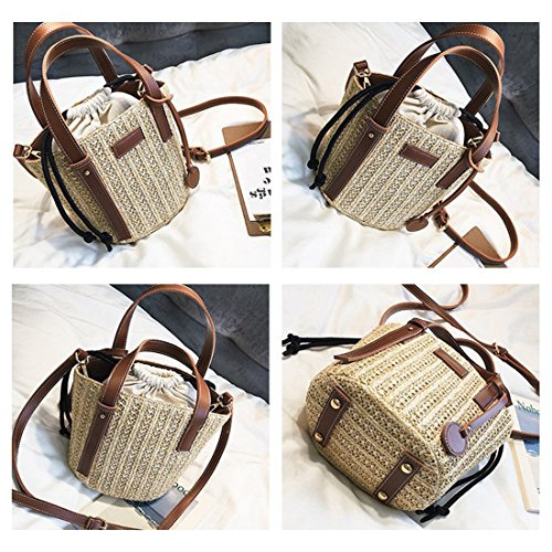 Bucket Lining Hobo Handle Bag Tote Women Bag Straw Bag Shoulder Shopper Top Cotton Bag Summer Beach A77p46fWqz