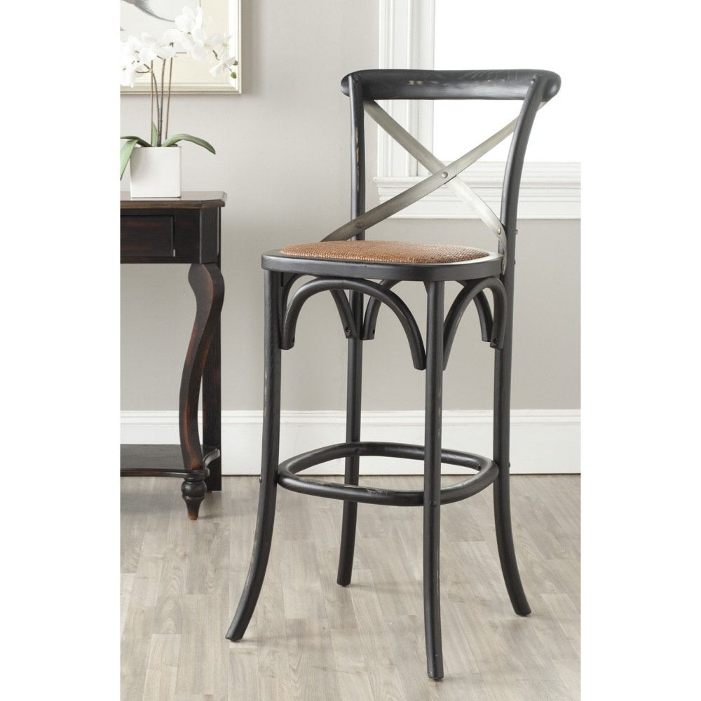 Amazon com safavieh american homes collection eleanor hickory oak 30 7 inch bar stool kitchen dining