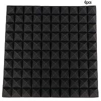 Furnoor Soundproof Foam,6Pcs Pyramid Shape Sound-Absorbing Soundproofing Cotton Foam(Black)