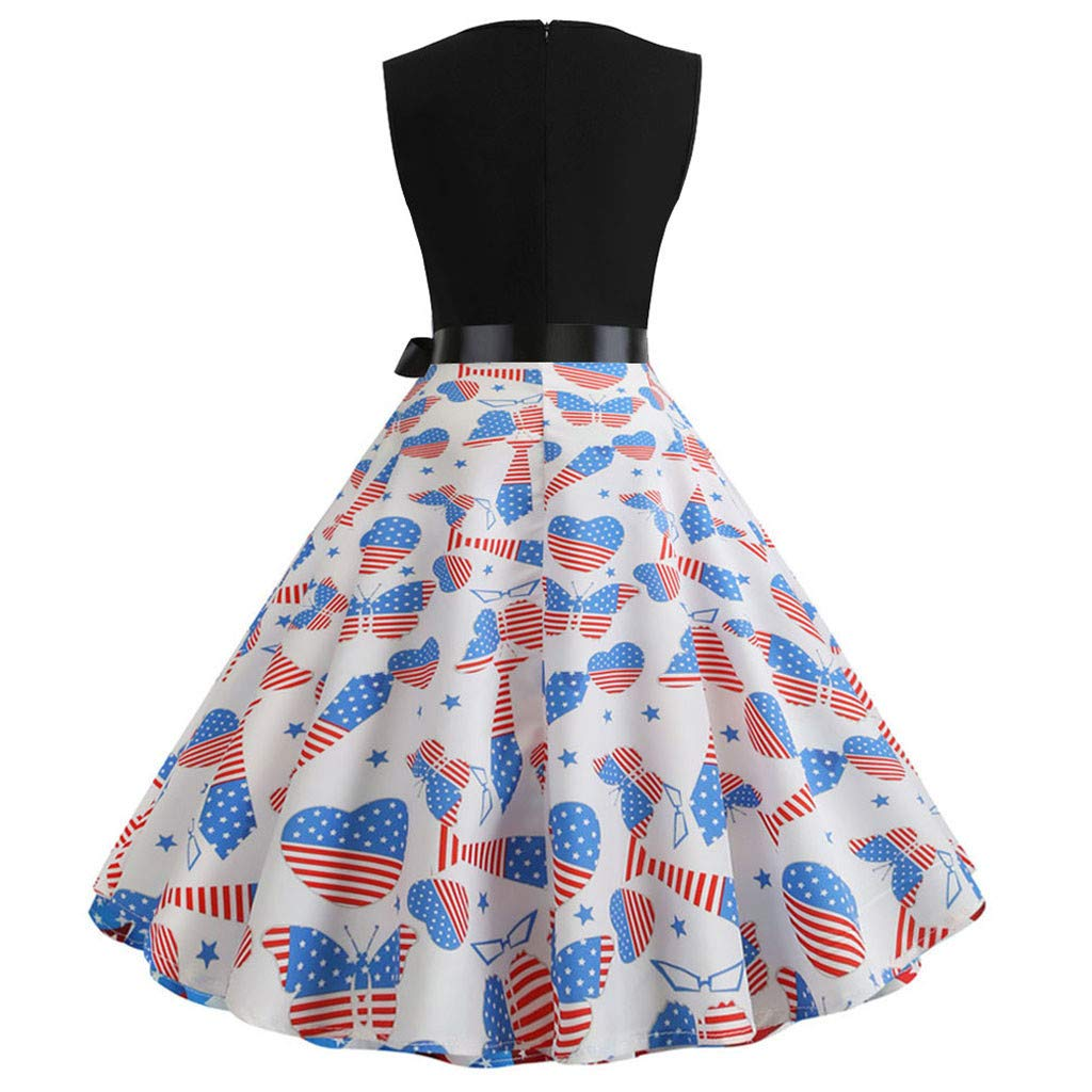 37884c66f6291 Amazon.com: Euone Dress Clearance, Women Independence Day Vintage Dress  Summer American Flag Print Ball Gown Dresses Patchwork Swing Bow Sleeveless  Party ...