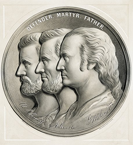 Posterazzi Lithograph From 1870 Of Medallion Showing Ulysses S Grant Abraham Lincoln And George Washington As Defender Martyr And Father Poster Print (28 x 30)