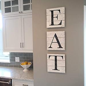 Adonis554Dan EAT Sign Wood Pallet Farmhouse Sign Kitchen Decor Shiplap Letters