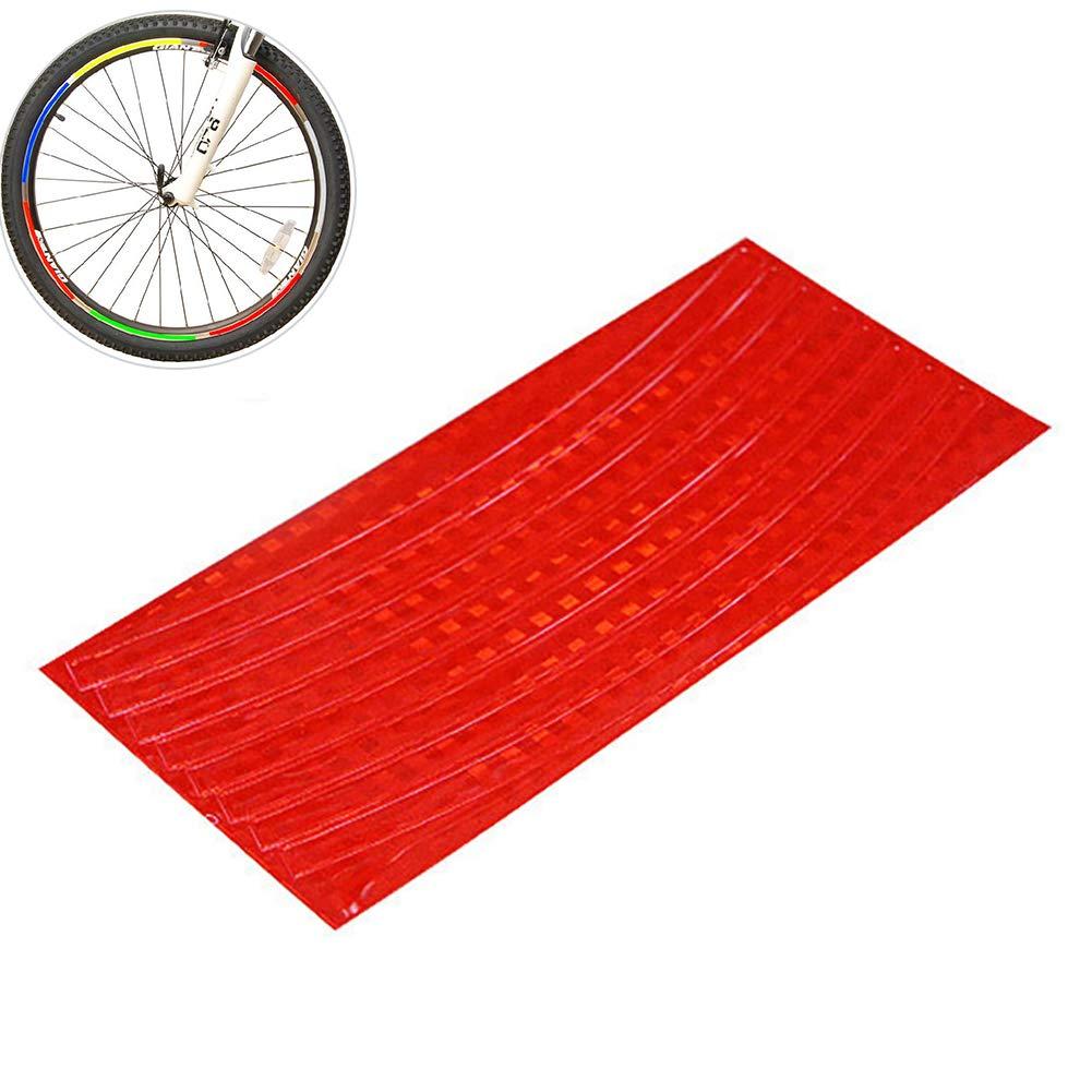 1pc Bicicletta Adesivo Ciclismo Ruota cerchione Nastro Riflettente per Mountain Bike Telaio Bici Ruota Bicicletta Cerchioni Riflettenti Adesivi Luminosi (Rosso) Hilai
