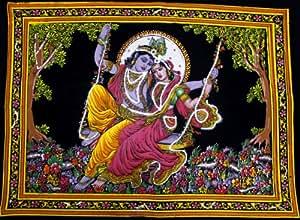"Lord Krishna & Goddess Radha Sequin Sitara Batik Cotton Wall Tapestry 40"" X 30"""