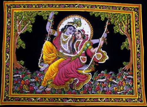 - Krishna Mart India Lord Krishna & Goddess Radha Sequin Sitara Batik Cotton Wall Tapestry 40