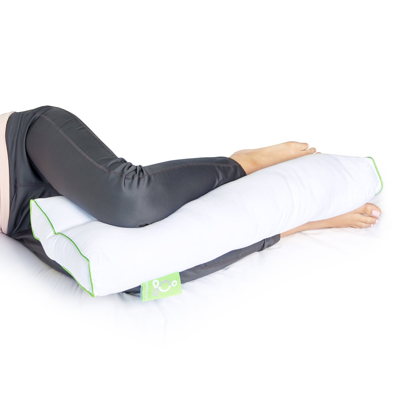 Sleep Yoga Leg Back Sleepers & Side Sleepers, Ergonomically Designed Down Alternative Between & Under Pillow for Knee Support, Hypoallergenic & Washable, 26'' x 13'' x 3''/One Size, White by Sleep Yoga