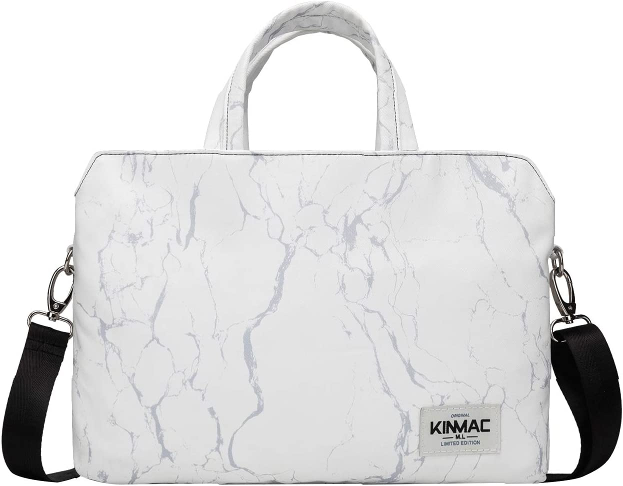 Kinmac 360 Degree Protective Water Resistant Laptop Shoulder Messenger Sleeve Case Bag (15 inch-15.6 inch, White Marble)