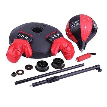 Alter-K-DJ Punchingball Set mit Boxhandschuhen & Pumpe - Boxsack-Set - Höhenverstellbar von 72 bis 108 cm, Kinder