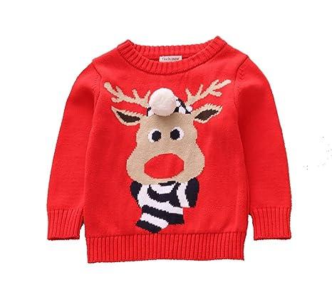Ropa de navidad para niños suéter para bebés sudadera para niños niña algodón suéter con bolas