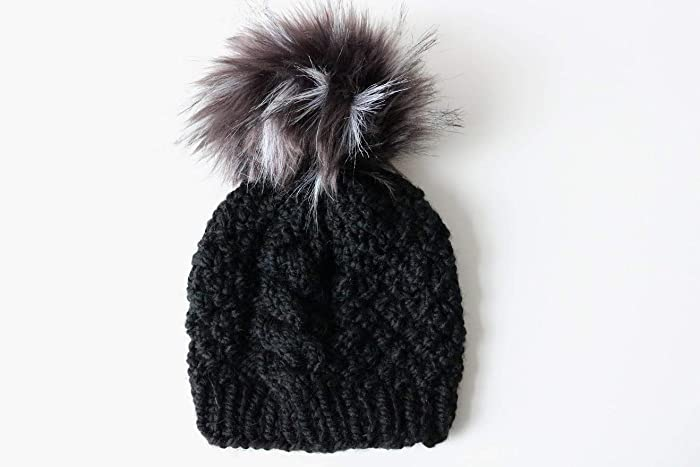 7c964a0275d Amazon.com  Knitted Cable Knit Beanie Hat with Faux Fur Pom Pom (Adult).  Handmade in Chunky