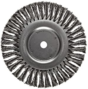 "Weiler Dualife Standard Wire Wheel Brush, Round Hole, Steel, Partial Twist Knotted, 8"" Diameter, 0.014"" Wire Diameter, 5/8"" Arbor, 1-5/8"" Bristle Length, 5/8"" Brush Face Width, 6000 rpm"