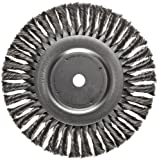 Weiler Dualife Standard Wire Wheel Brush, Round Hole, Steel, Partial Twist Knotted, 8'' Diameter, 0.014'' Wire Diameter, 5/8'' Arbor, 1-5/8'' Bristle Length, 5/8'' Brush Face Width, 6000 rpm