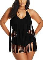 Pandolah Women Plus Size Tassel Fringe Padded Bikini Bandeau One Piece Swimsuits