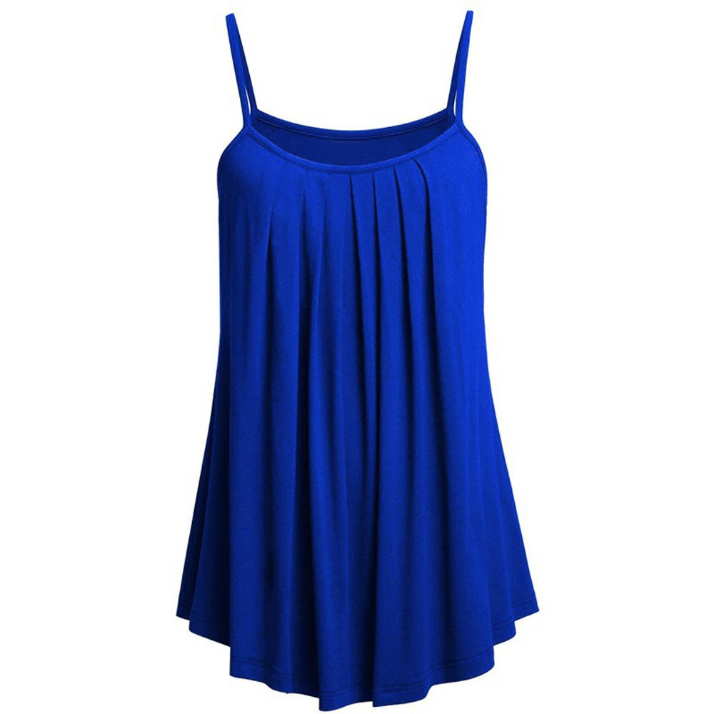 Women's Camisoles Strappy Fashion Loose Sleeveless Vest Tops Shirt Sexy Blouse Casual Solid Color Tank Tops Plus Size S~ 6XL Light Blue