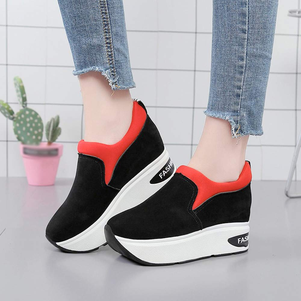 Claystyle Women Fashion Sneakers Sports Running Hiking Thick Bottom Platform Shoes(Red,US: 6.5) by Claystyle Shoes (Image #2)