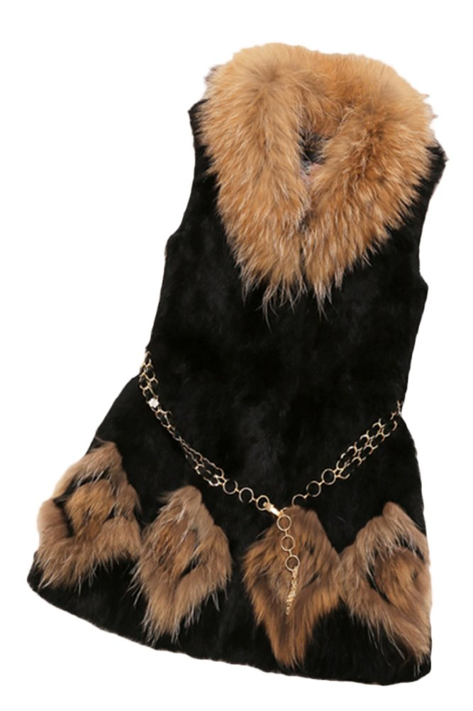 Queenshiny New Style Women's 100% Real Rabbit Fur Vest with Raccoon Collar-Black-M(8-10)