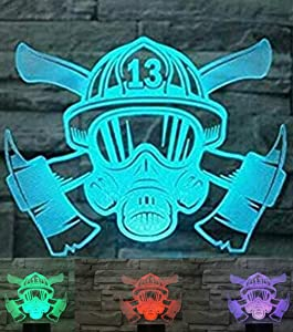 3D Firefighter Mask Night Light Led Touch Switch Decor Table Desk Optical Illusion Lamps 7 Color Changing Lights LED Table Lamp Xmas Home Love Birthday Children Kids Decor Toy Gift